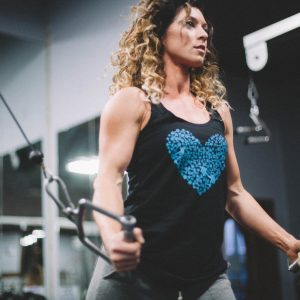 Dumbbell Workout Heart Blue Tank top
