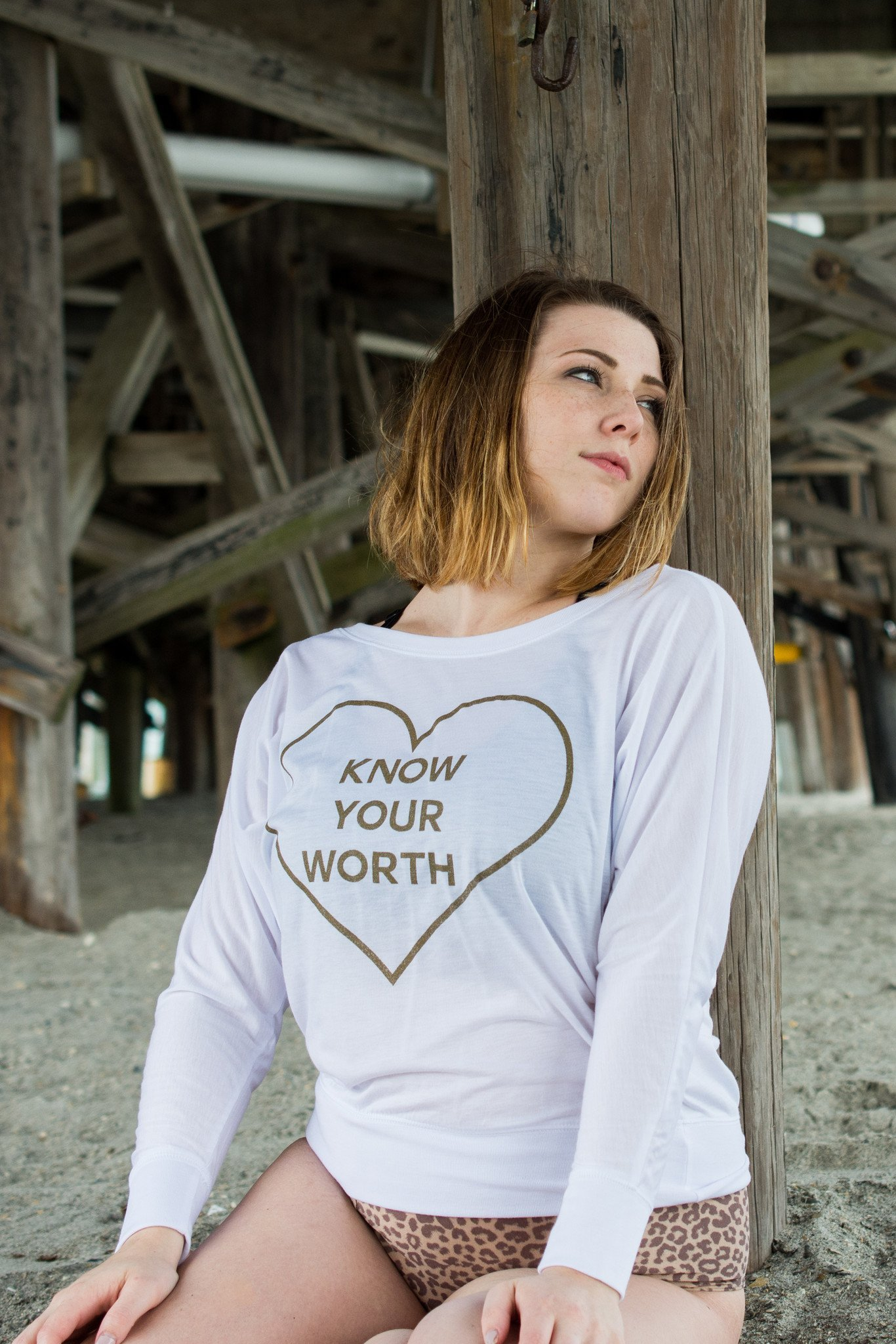 Know Your Worth White Long Sleeve Shirt