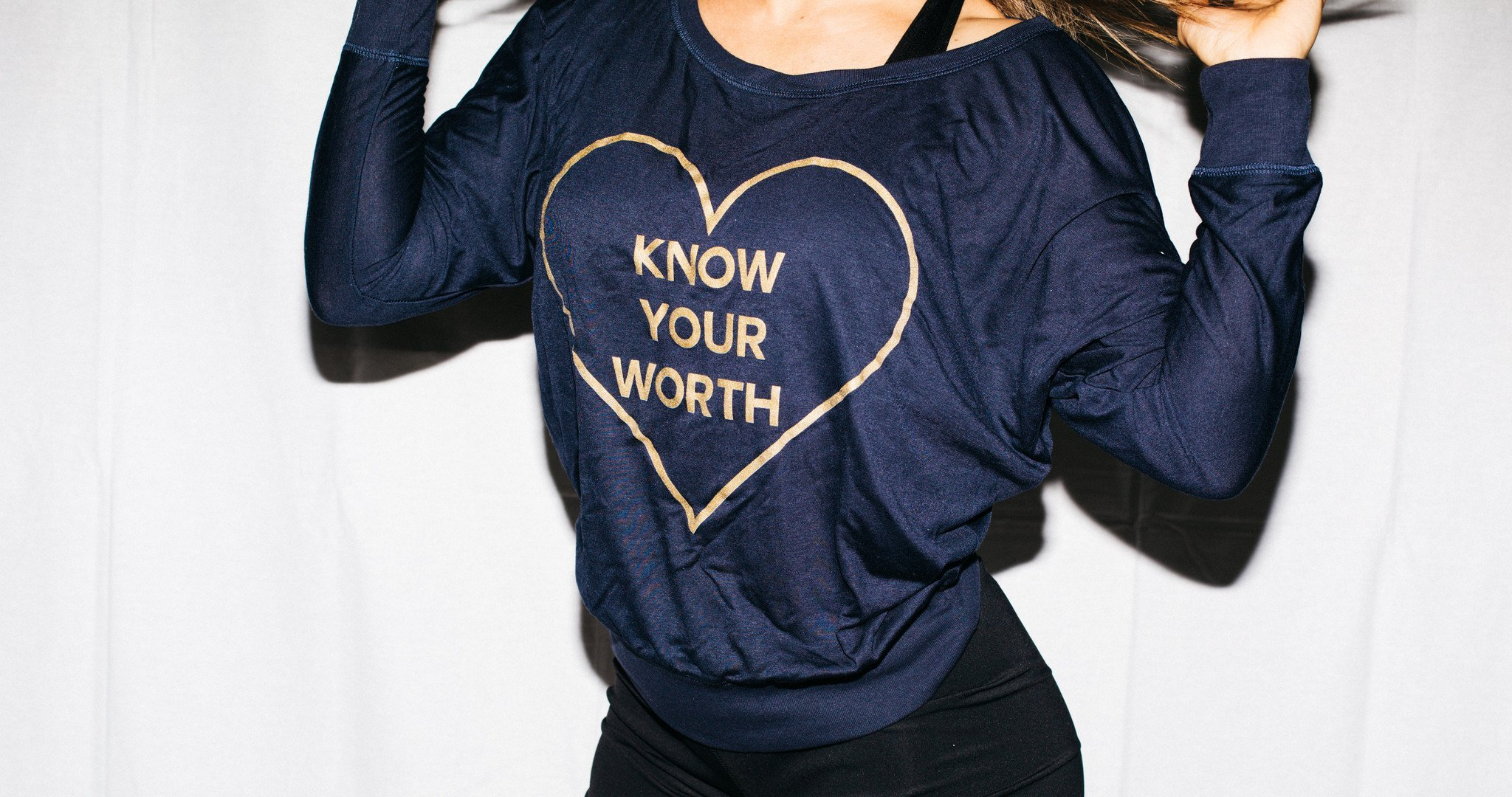 Know Your Worth Long Sleeve Navy FitGirls Inspire