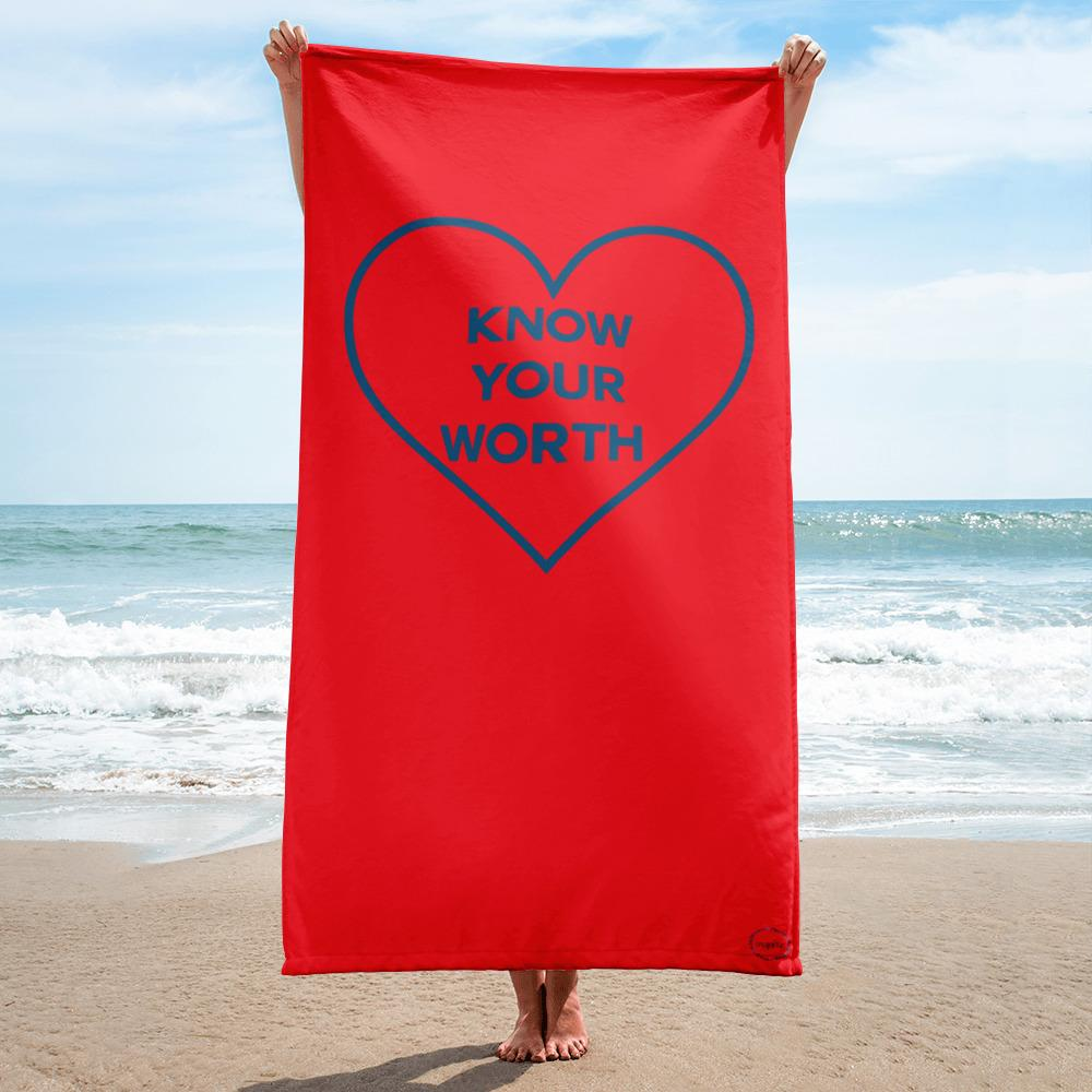 FitGirls Inspire Know Your Worth Beach towel