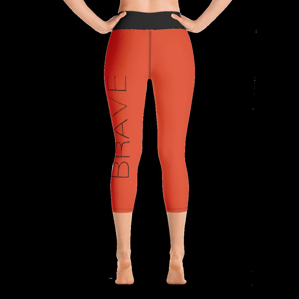 Be Brave 3 Arrows Orange Black Yoga Capri Leggins FitGirlsInspire